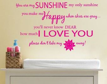 You are my SUNSHINE Wall Decal Vinyl Sticker