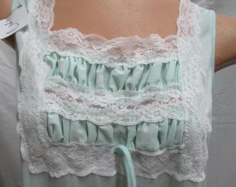 women's lingerie, vtg Size Med, pastel green, lace bodice n bottom, full slip night gown, nylon loungewear, skirt extender, peek-a-boo slip