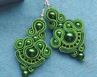 Green spring Soutache Earrings