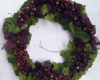 Grapevine Wreath with Purple Grapes