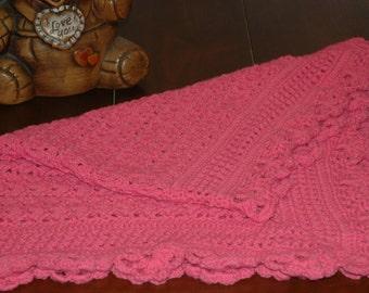 Pink Crocheted Baby Blanket - Handmade