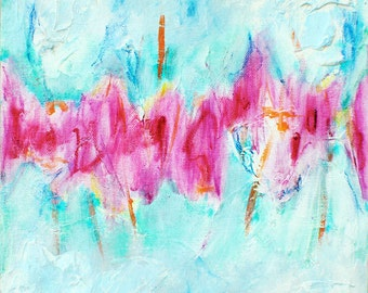 Abstract Painting Pink, Abstract Canvas Print, Hot Pink White Teal, Large Abstract Print, Pastel Canvas Wall Art Print, Pastel Abstract Art