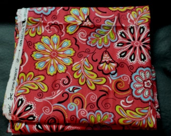 Pink Fancy Floral patterned Fabric- 100% Cotton- B15