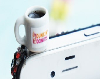 dunkin donut coffee phone plug-phone accessories, dust plug, dust cover, phone plug