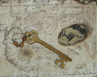 Hand-carved wooden skeleton key OOAK