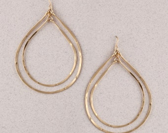 Double Teardrop Hammered Hoop Earrings.