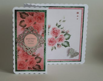 Pink Roses Z-fold Birthday Card with silver butterfly