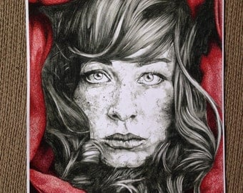 """Colored Pencil and Graphite Art Print, Girl with Freckles, 11"""" x 14"""""""