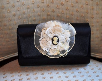 Vintage Chic Black Silk Lace Clutch