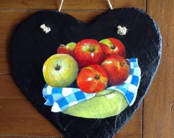 Apples on Heart Slate