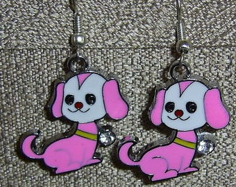 Little Pink Puppy Earrings