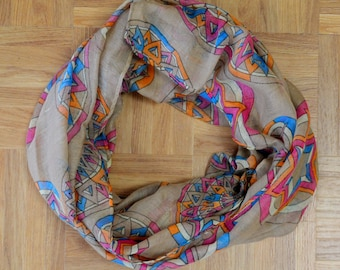 Camel Compass Light Weight X-large Infinity Scarf Loop Cowl