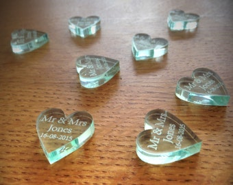 Personalised Clear Glass Effect Laser Cut Heart Wedding Table Decoration Gift Favours