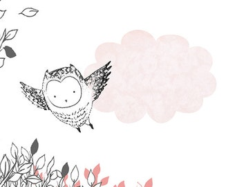 Forest Tales-Happy Animals-Fox-Hedgehog-Owl-Deer-Pastel Colors-Whimsical