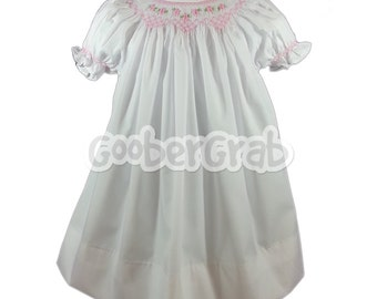 White Smock Dress with Pink flowers