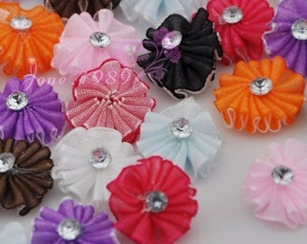60x Organza Ribbon Flowers With Arcylic Stone Wedding Appliques Crafts A0145