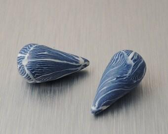 Polymer Clay Drop Beads - Dark Blue and White Swirl