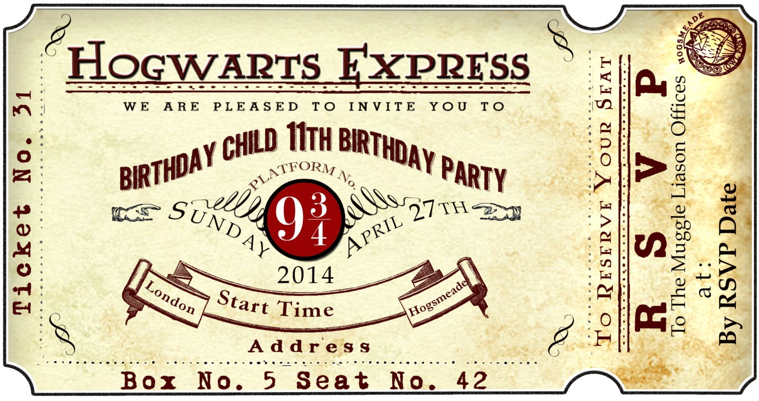 Harry Potter Platform 9 3/4 Train Ticket Birthday Party Invite