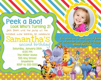 Winnie The Pooh Photo Birthday Invitation