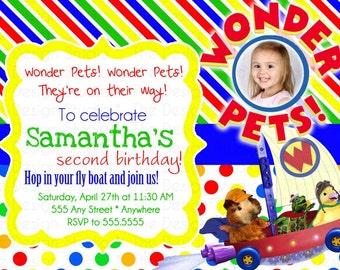 Bright Striped and Polka Dot Wonder Pets Photo Birthday Invitation