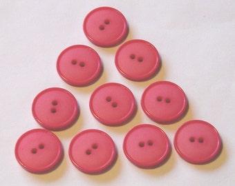 Vintage HOT Pink Plastic Buttons - Set of 10
