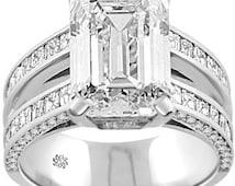 3.87 Carat Emerald Cut Diamond Channel Set Asscher Cut Diamond Pave Set Round Cut Diamond Open Split Shank Gold Engagement Wedding Ring