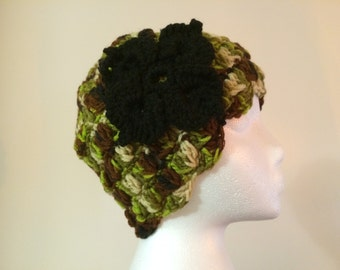 Womens crochet multicolor hat and scarf with black flower