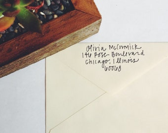 Custom Handwritten Modern Calligraphy Wedding Envelope Return Addressing