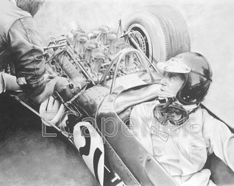 Jim Clark Pencil Drawing Limited Edition Fine Art Giclee Print
