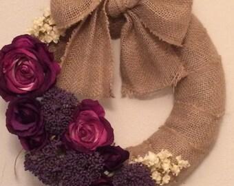 Cream and purple fall wreath