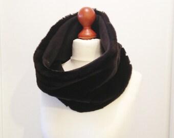 Snood black mink fur collar