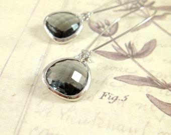 Gray Gem Earrings / Silver + Gray Gem Earrings, Gray Crystal Earrings, Bridesmaid Gift, Gray Bridesmaid Jewelry Earrings