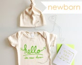 Hello I'm New Here Baby Gift Set, coming home outfit, welcome baby gift, baby shower present (green or pink or blue) NEWBORN 0-3 months