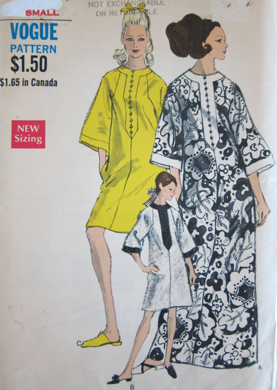 60s Vogue 7295 Caftan Dress Vintage Sewing Pattern 1960s