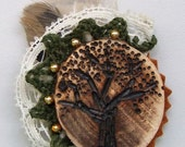 Oak Forrest wood and fiber brooch