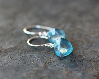 Crystal Pyramid Earrings, Blue Quartz Earrings, Blue Quartz Pyramid, Crystal Earrings, Faceted Gemstone, Sterling Silver Gemstone Earrings