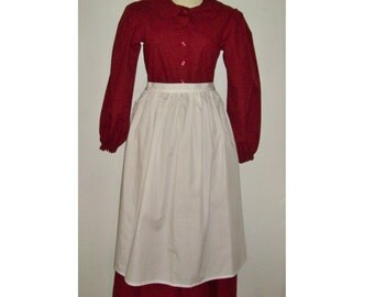 Choose Size - Girls White Apron, Pioneer Prairie Colonial Costume