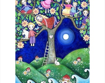 Childrens Wall Art Print A3 Summer Tree folk painting kids wall decor 7 children brothers and sisters art nursery whimsical kids room art