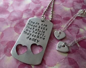 There are these kids Daddy and Daughter or Children Personalized Hand Stamped Matching Necklaces His and Hers Family Set-They Call Me Daddy