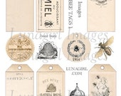 HONEY BEES TAGS digital collage sheet Download shabby vintage printables French labels bugs beehive antique ephemera Victorian art supplies