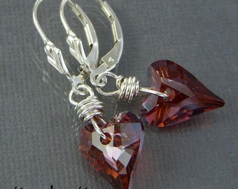 Red Hearts - Sterling Silver & Swarovski Crystal Earrings
