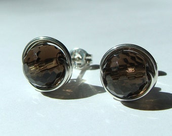 Faceted Smoky Quartz Studs 8mm Smoky Quartz Post Earrings Wire Wrapped in Sterling Silver Stud Earrings