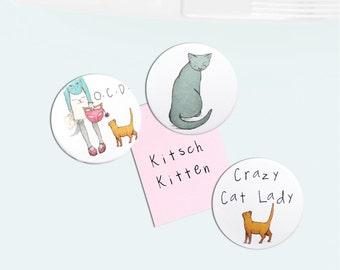 Cat Fridge Magnets - crazy cat lady obsessive cat disorder ginger cat kitten x 3