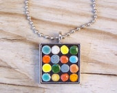 Mosaic Square Art Pendant with Chain in Multi-Colored Round Tiles