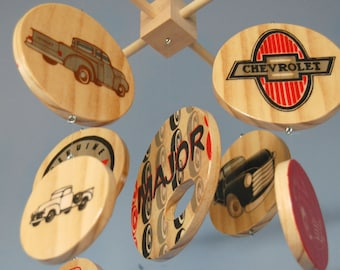 Baby Mobile Vintage Chevy Trucks  - Wood Mobile - Chevrolet - Red and Black