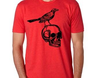 Men's Raven Shirt Animal Shirts Edgar Allan Poe Clothing Unisex Skull and Bird Shirts Screen Printed Gifts Indie Clothes