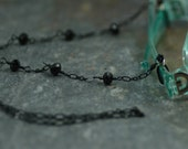 Eyeglasses Holder Chain Featuring Black Crystals and Delicate Black Enameled Chain