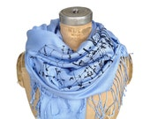 Celestial scarf. Milky Way Galaxy pashmina. Powder blue scarf. Constellation design, navy blue print on sky blue &more. For women or men.