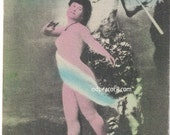 Pan nude tinted lady postcard Spring woodland image