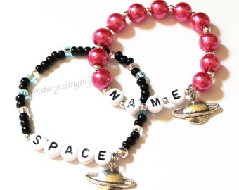 Outer Space Saturn Charm Planet Bracelet Out of this world! YOU CHOOSE bead colors Personalized name bracelet Party favor outer space party
